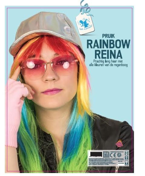 "Pruik ""rainbow reina"""