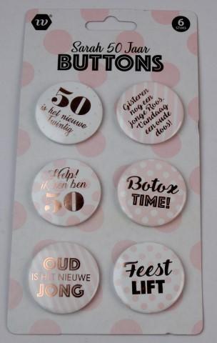 Sarah 50 jaar buttons 6 stuks
