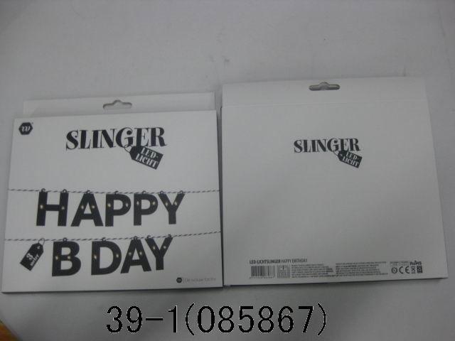 Slinger met led verlichting happy birthday