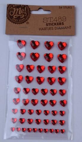 Stickers hartjes diamant st.489 54 st.
