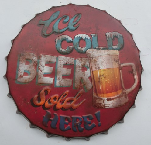 Vintage sign ICE COLD BEER SOLD HERE 42 cm