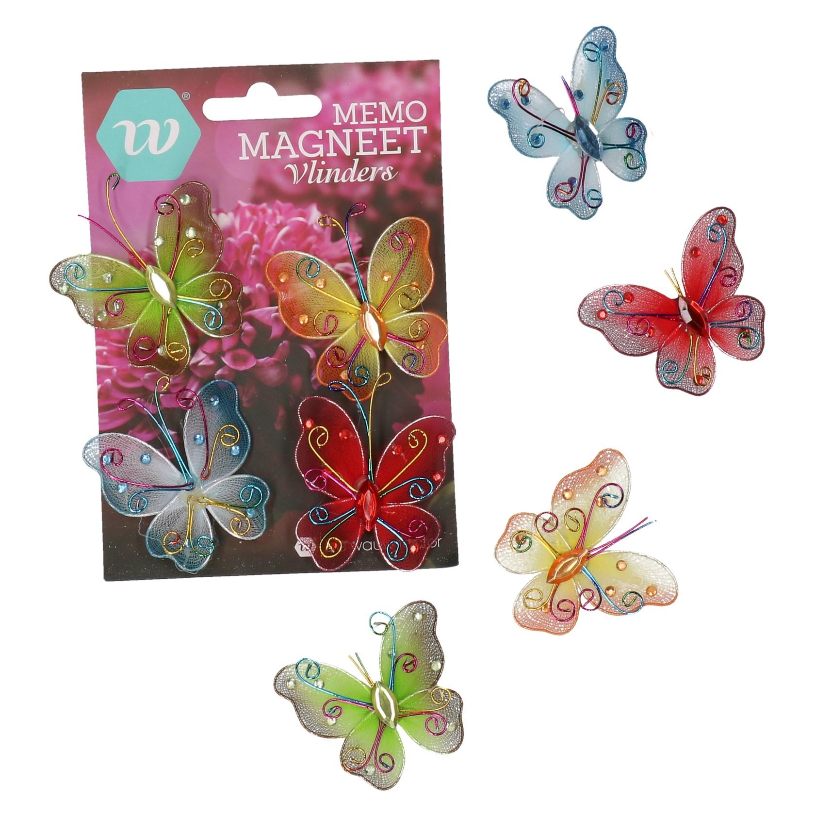 Vlinder memo magneet 4 delig