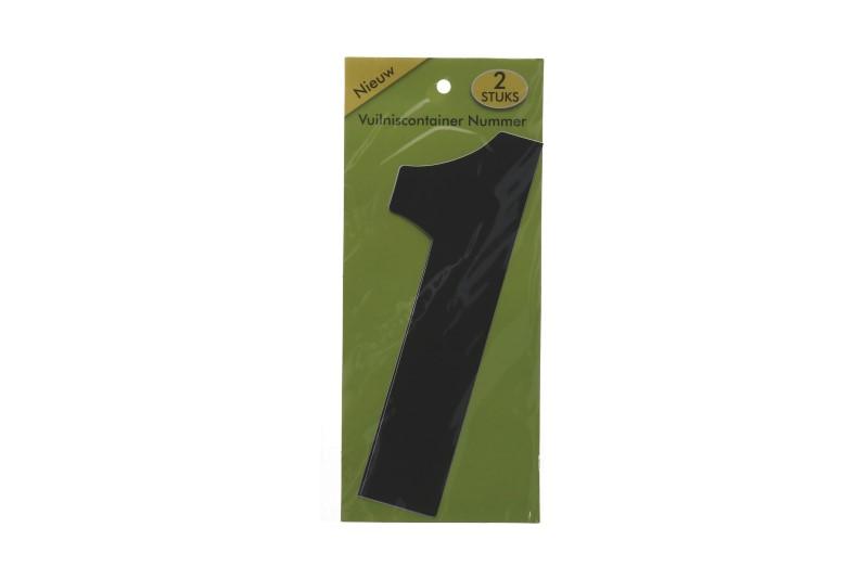 Vuilnisbak sticker 2st nummer 1 zwart