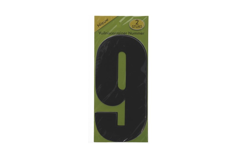 Vuilnisbak sticker 2st nummer 9 zwart