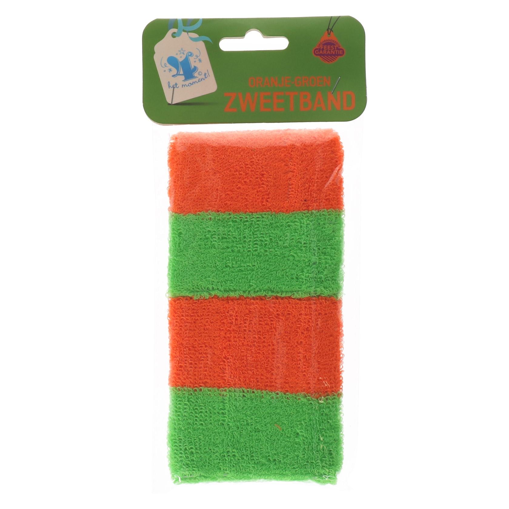 Zweetband oranje/groen
