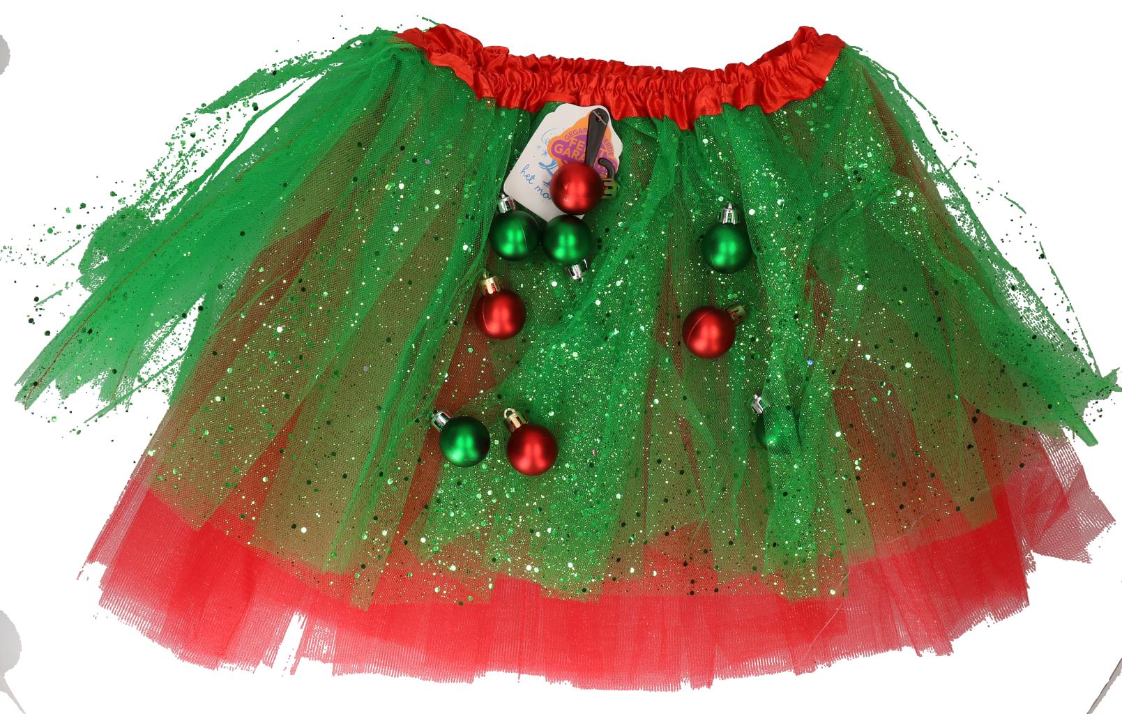 Tutu kerst rood/groen one size