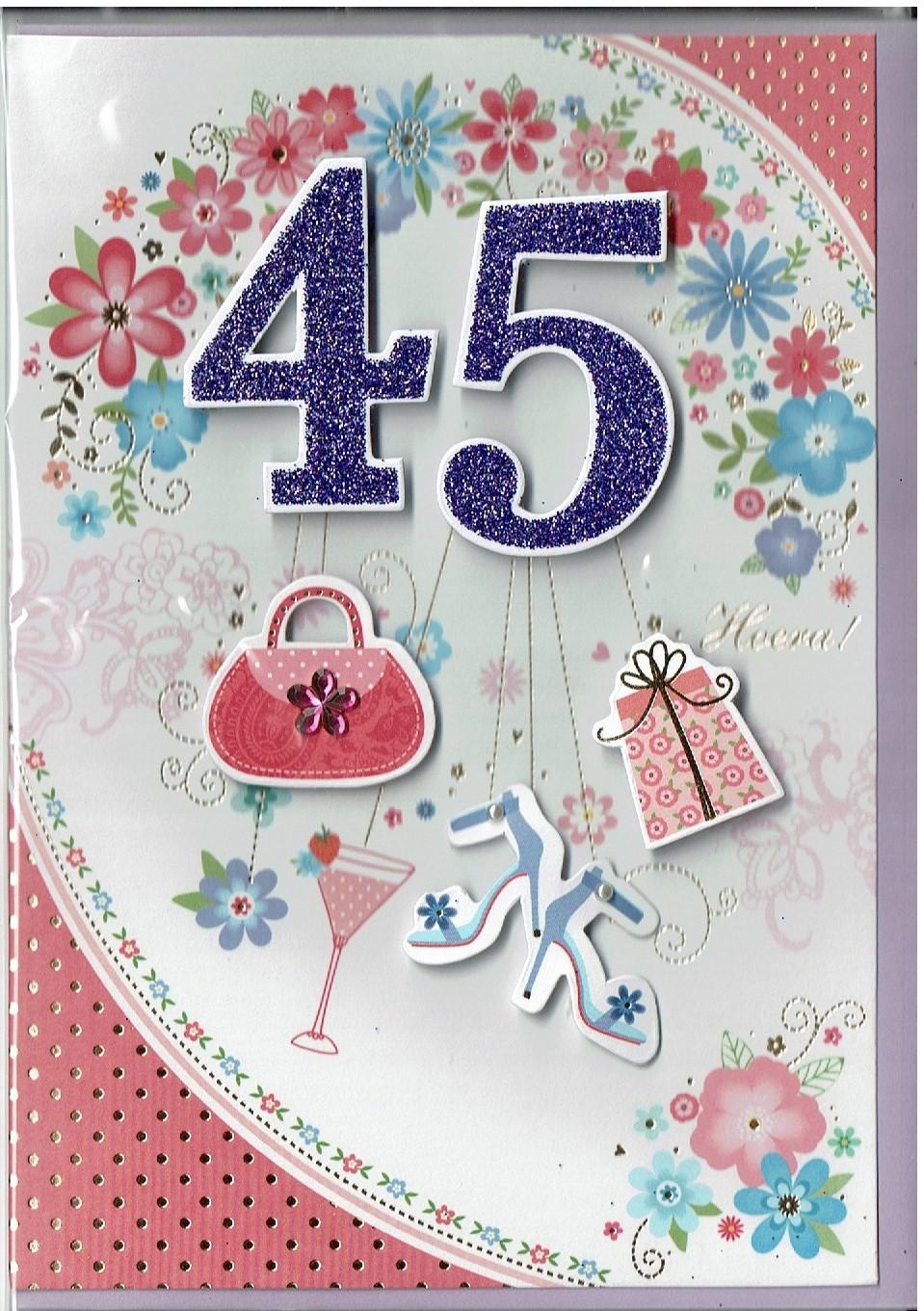 Wenskaart 45 jaar vrouw
