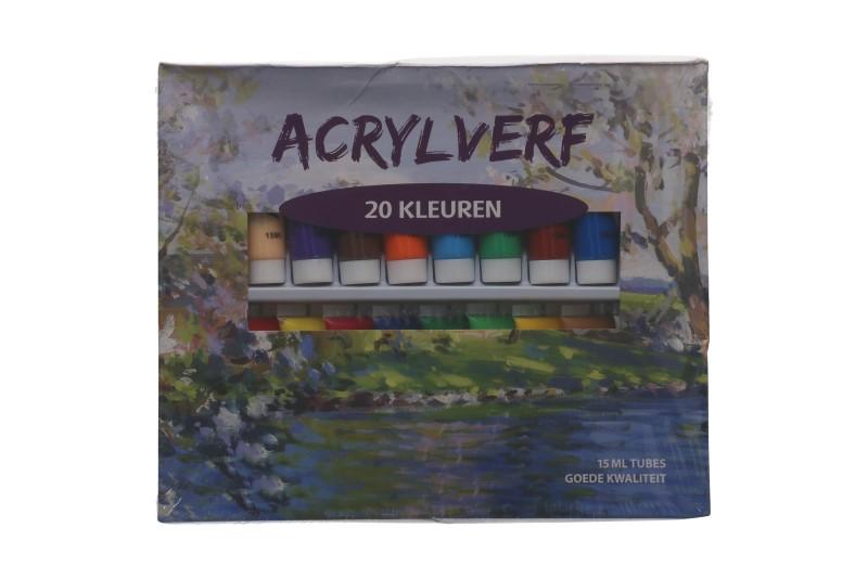 Acrylverf 20 kleuren in tubes