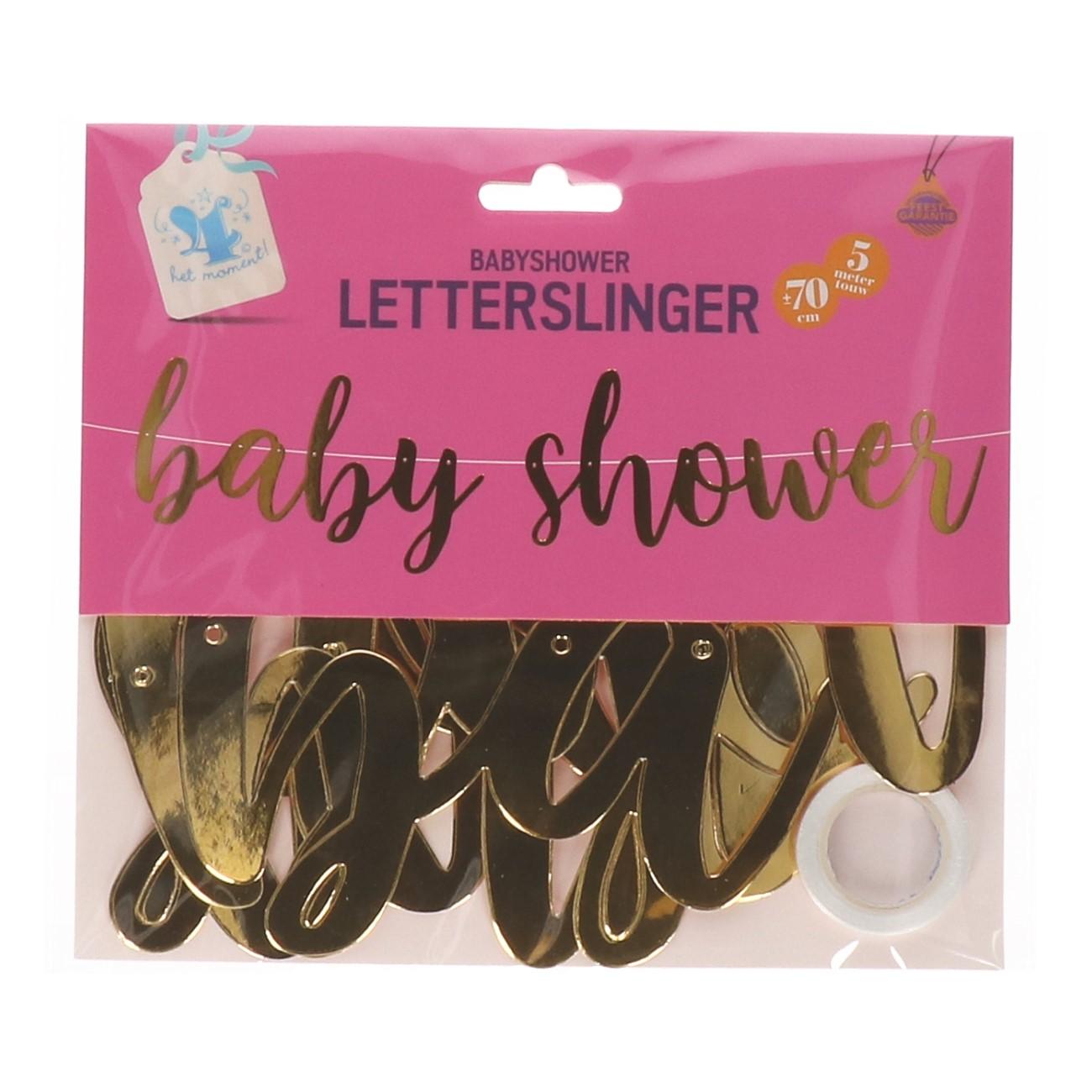 Baby shower letterslinger goud