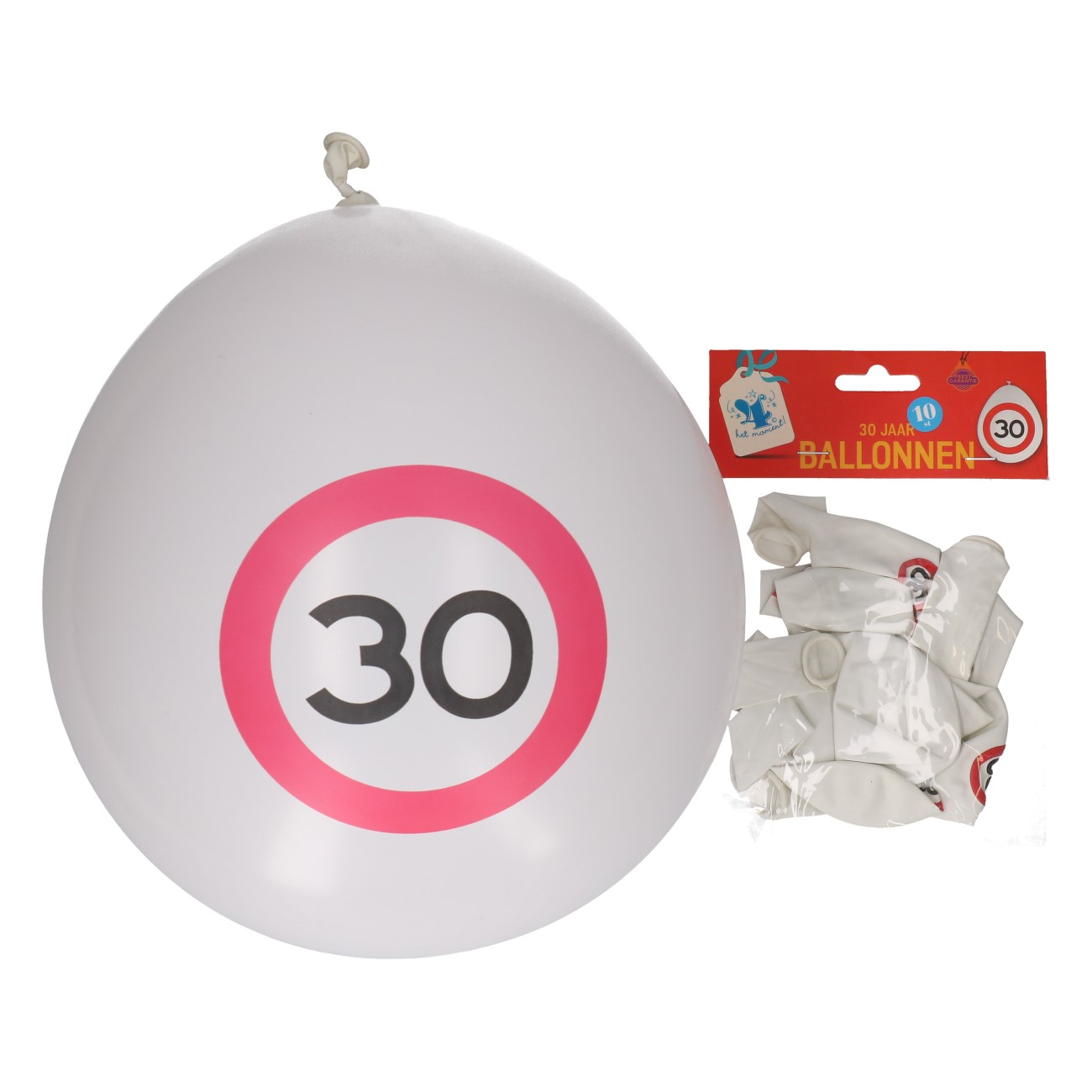 Ballonnen 30 jaar 10 stuks verkeersbord