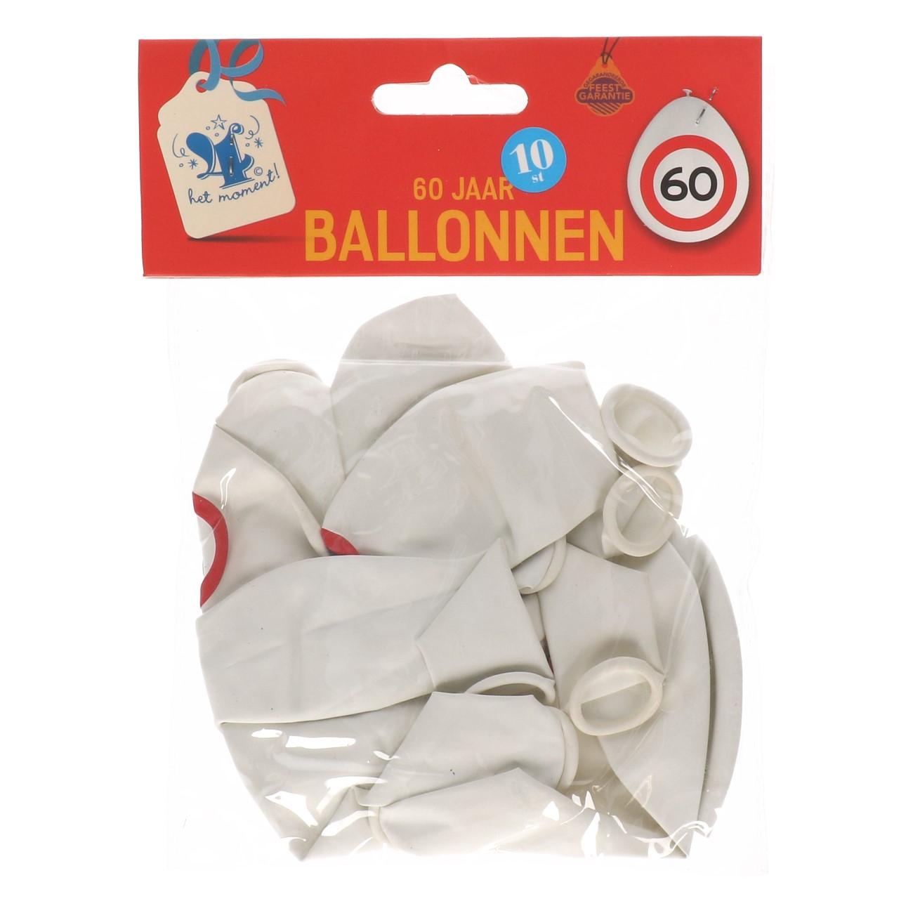 Ballonnen 60 jaar 10 stuks verkeersbord
