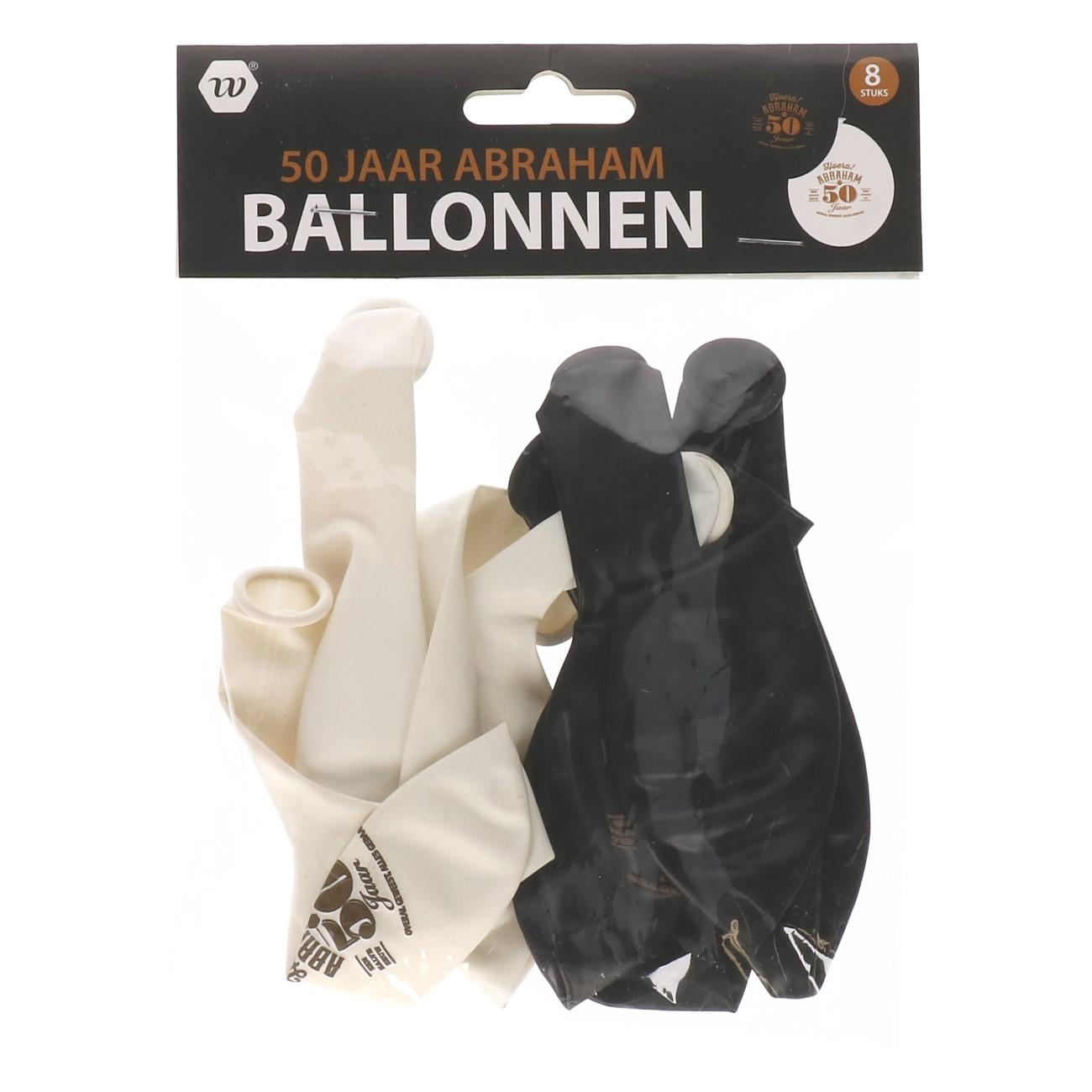 Ballonnen Abraham 50 jaar 8 stuks