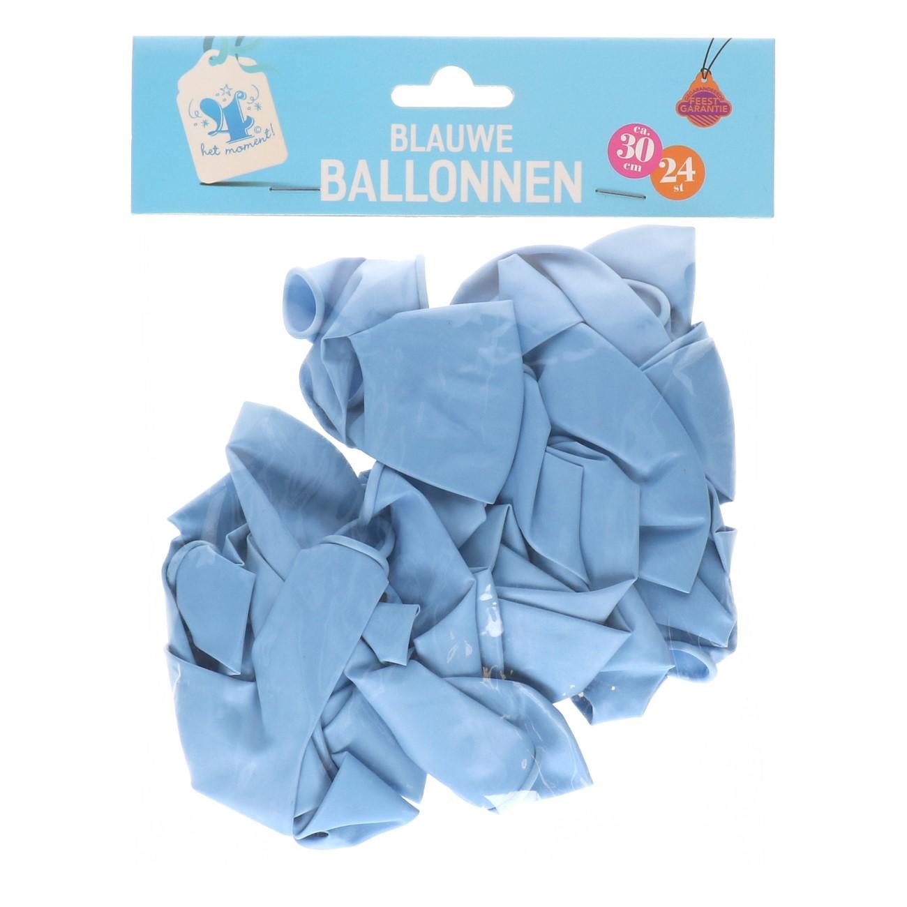 Blauwe pastel ballonnen 24 stuks