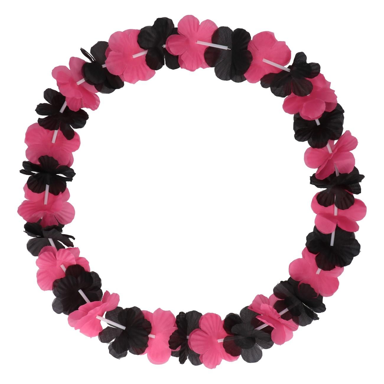 Bloemenslinger zwart/roze