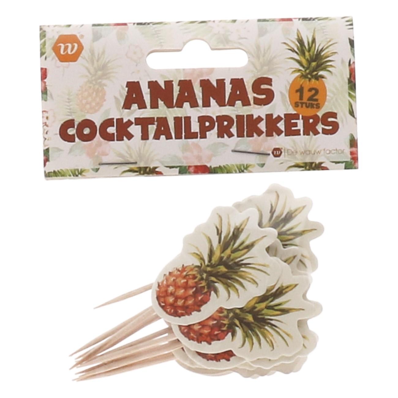 Cocktailprikkers ananas 12 stuks
