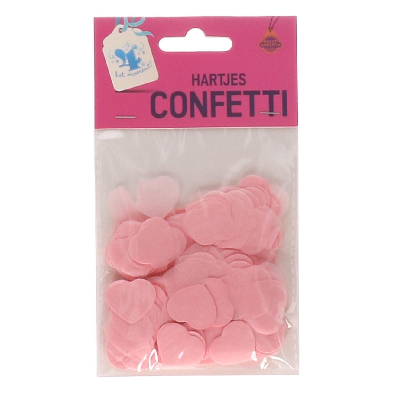 Confetti hartjes roze