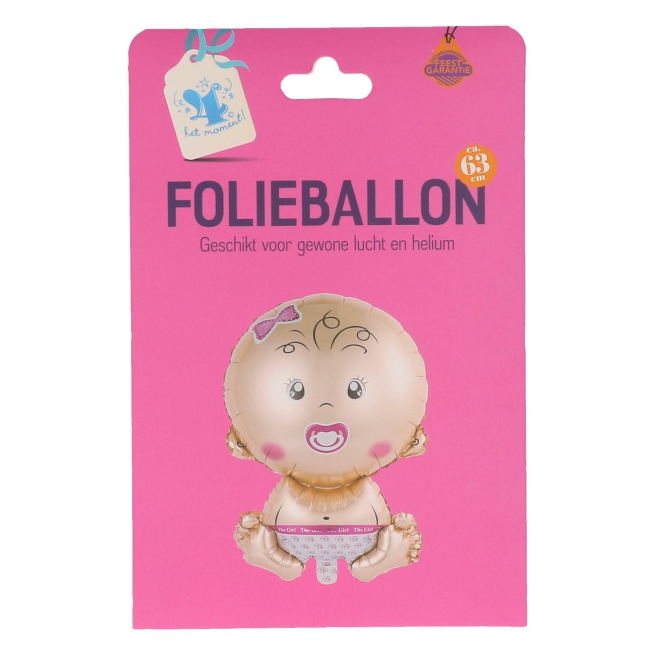 Folieballon baby roze