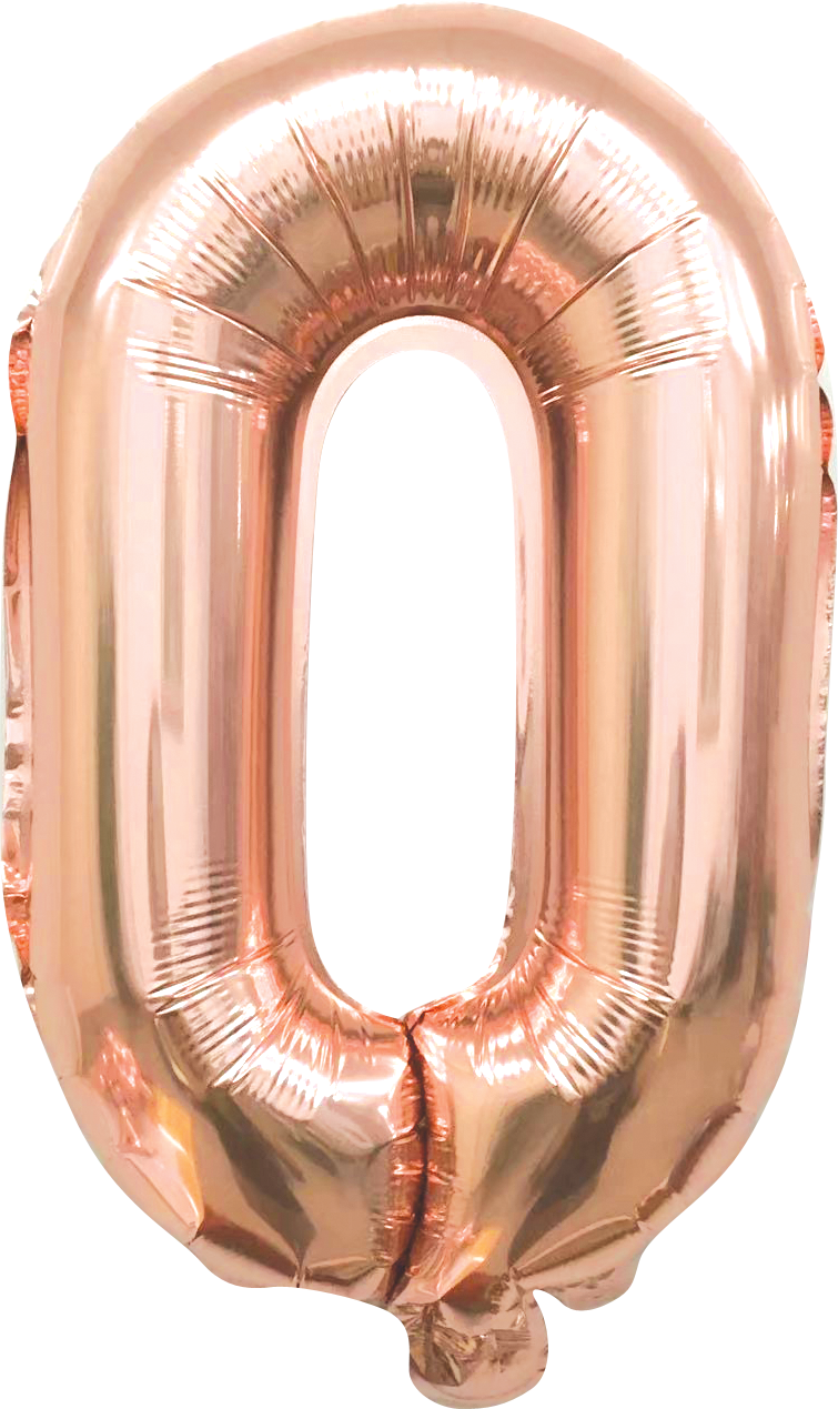 Folieballon cijfer 0 rosé goud