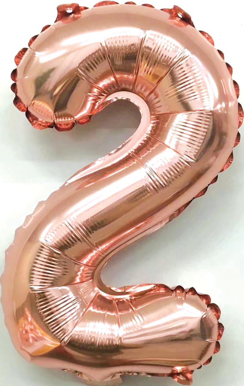 Folieballon cijfer 2 rosé goud