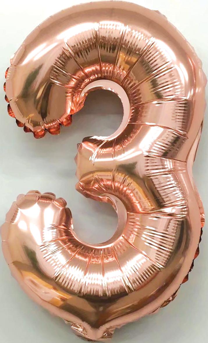 Folieballon cijfer 3 rosé goud