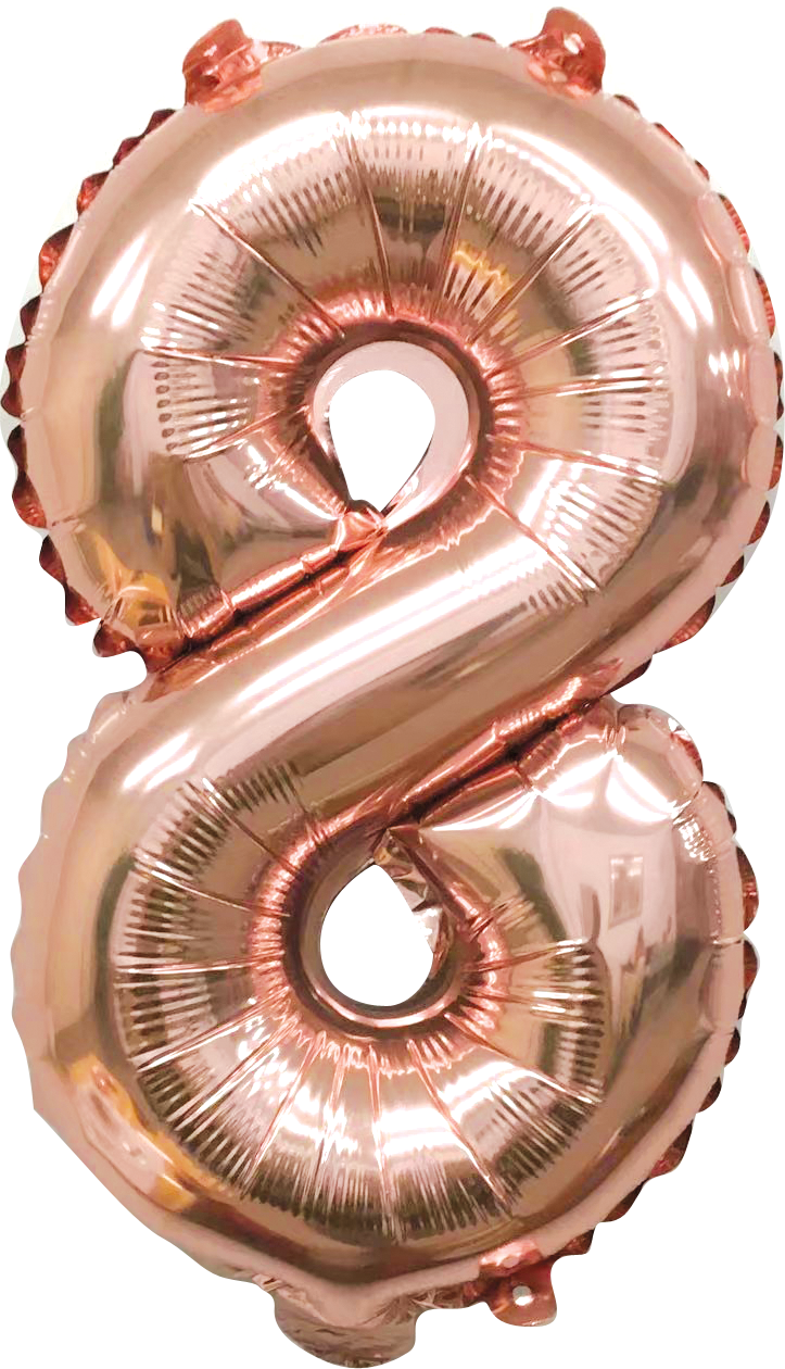 Folieballon cijfer 8 rosé goud