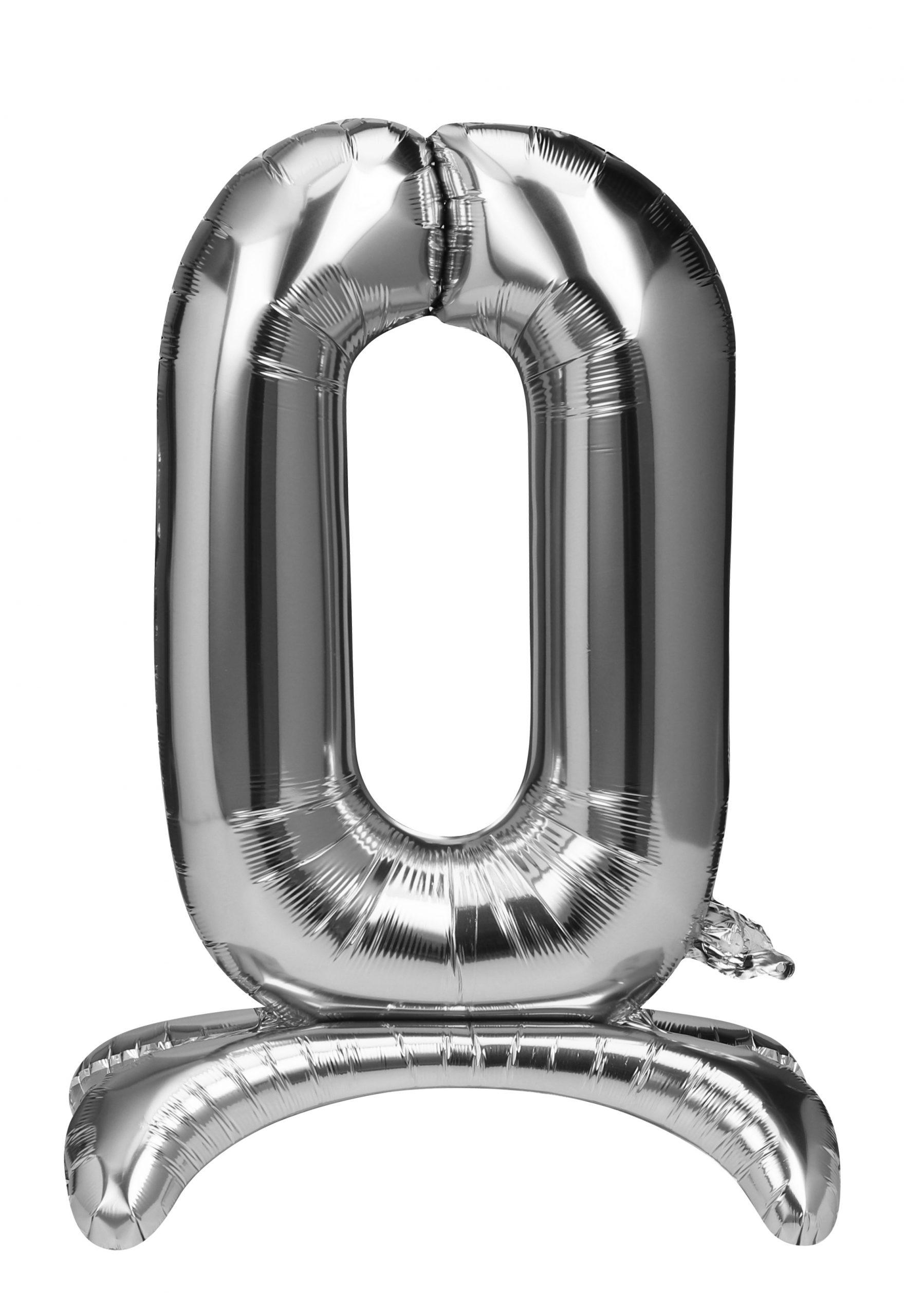 Folieballon zilver staand cijfer 0
