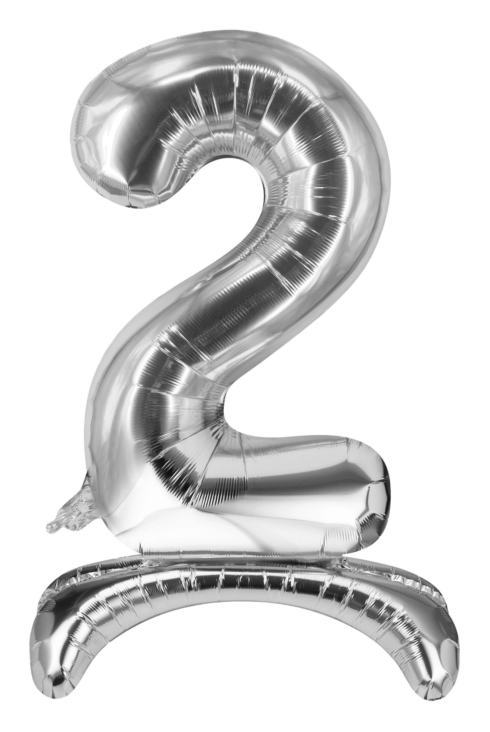 Folieballon zilver staand cijfer 2