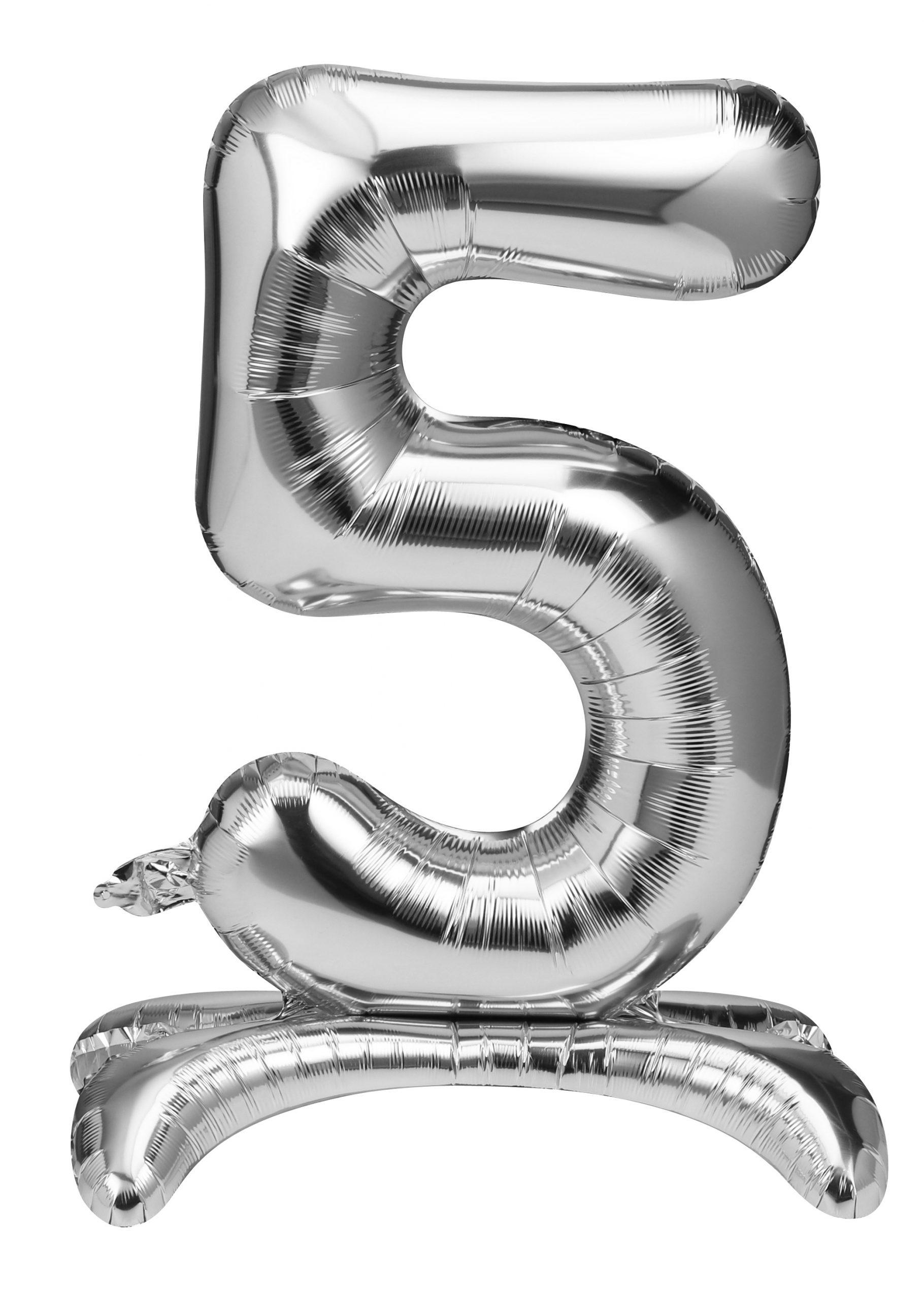 Folieballon zilver staand cijfer 5
