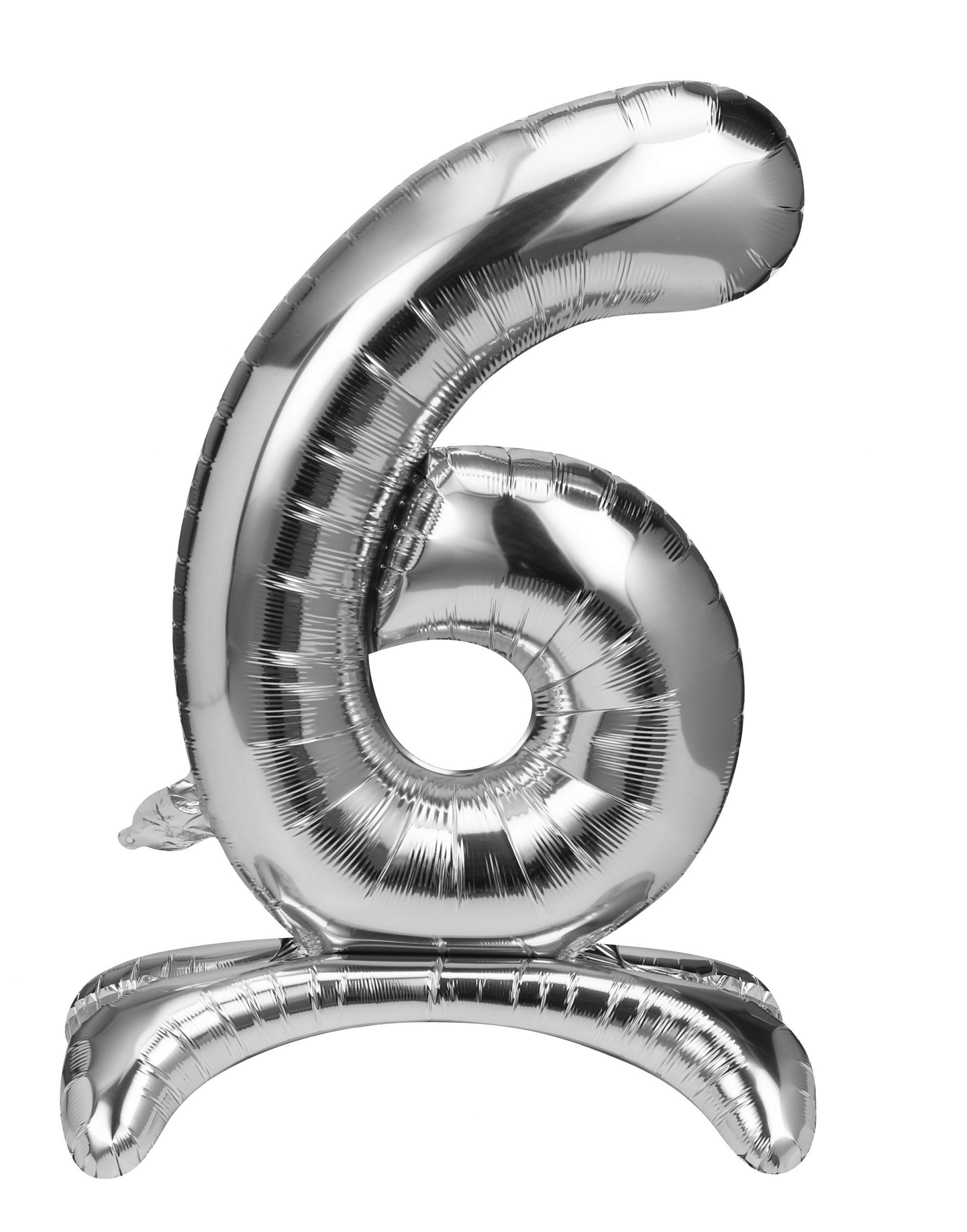 Folieballon zilver staand cijfer 6