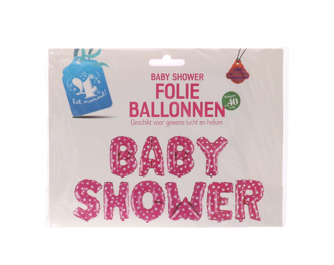 "Folieballonnen ""baby shower"" roze"