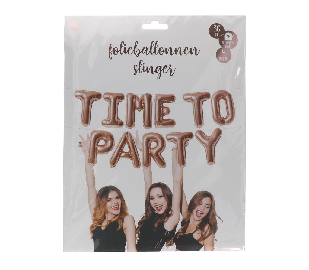 Folieballonnen slinger rose-goud time to party