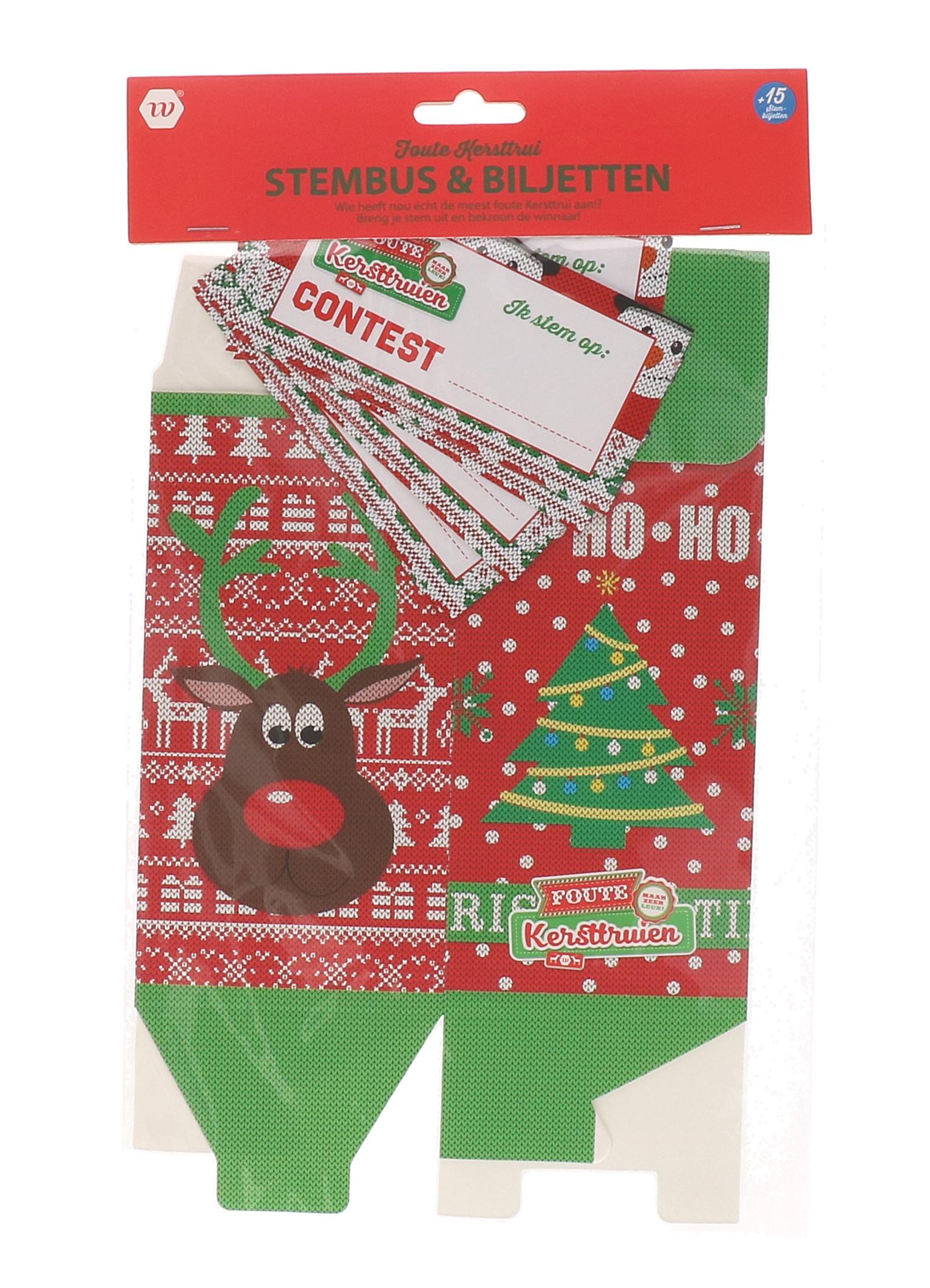 Foute kersttrui stembus en biljetten