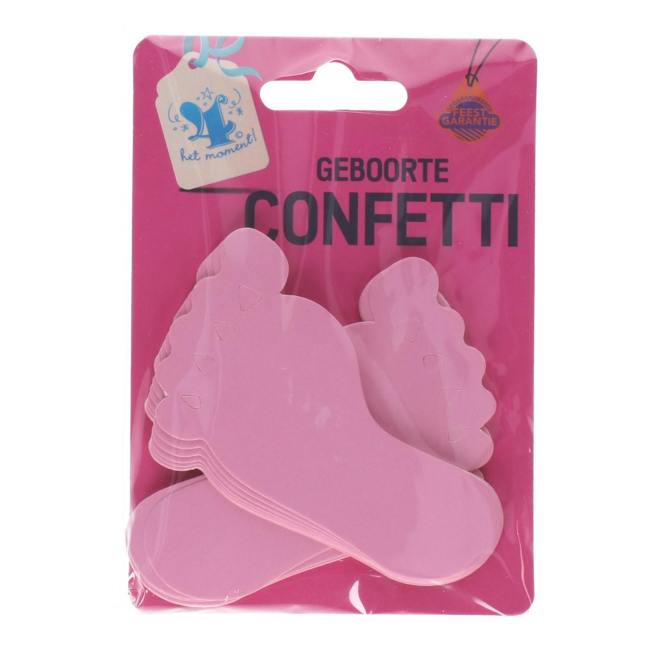 Geboorte confetti voetjes roze