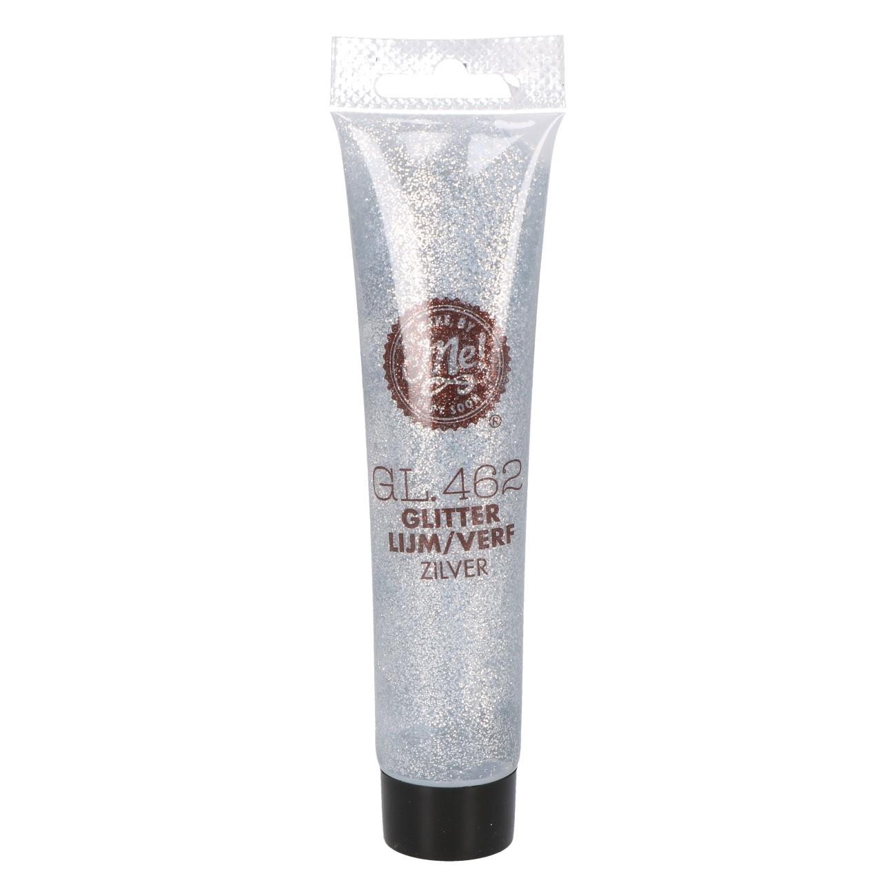 Glitterlijm/verf zilver GL462 75ml
