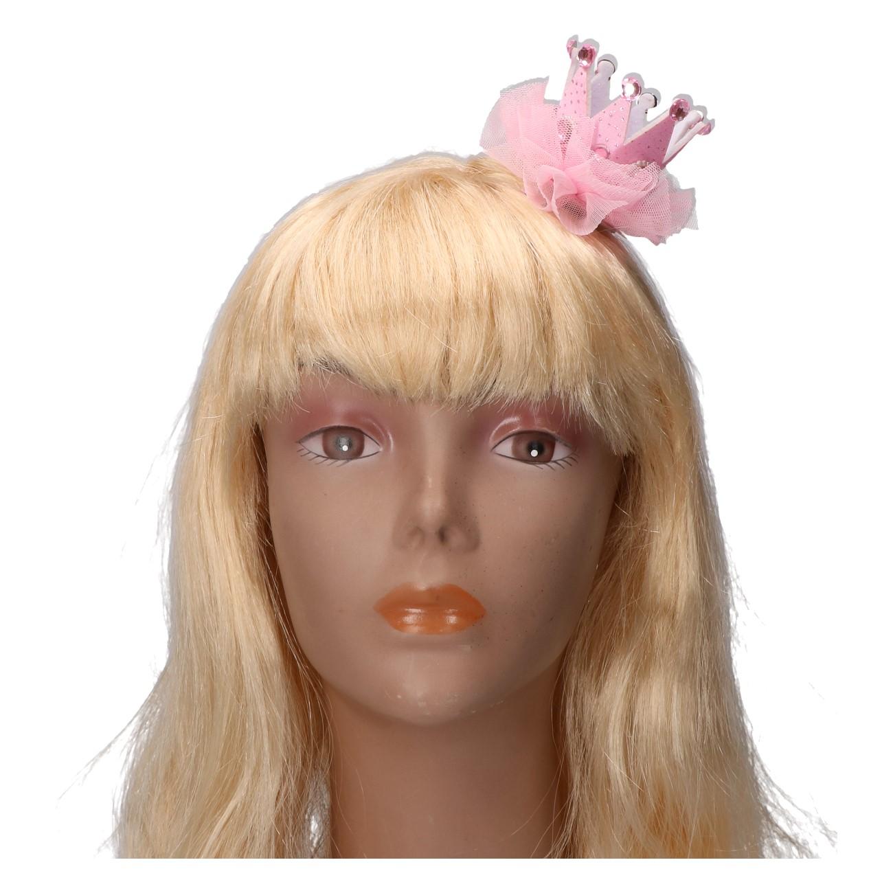 Kroontje met haarclip roze