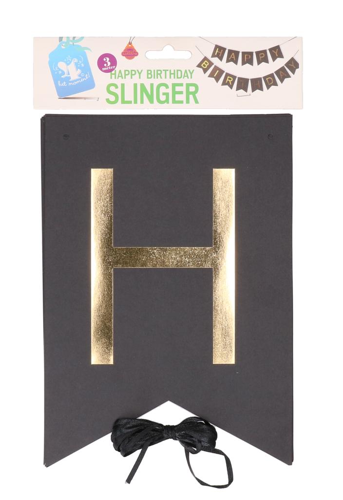 Happy birthday slinger zwart foliedruk