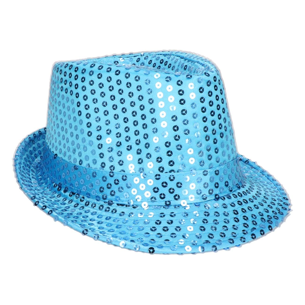 Hoed blauw met pailletten
