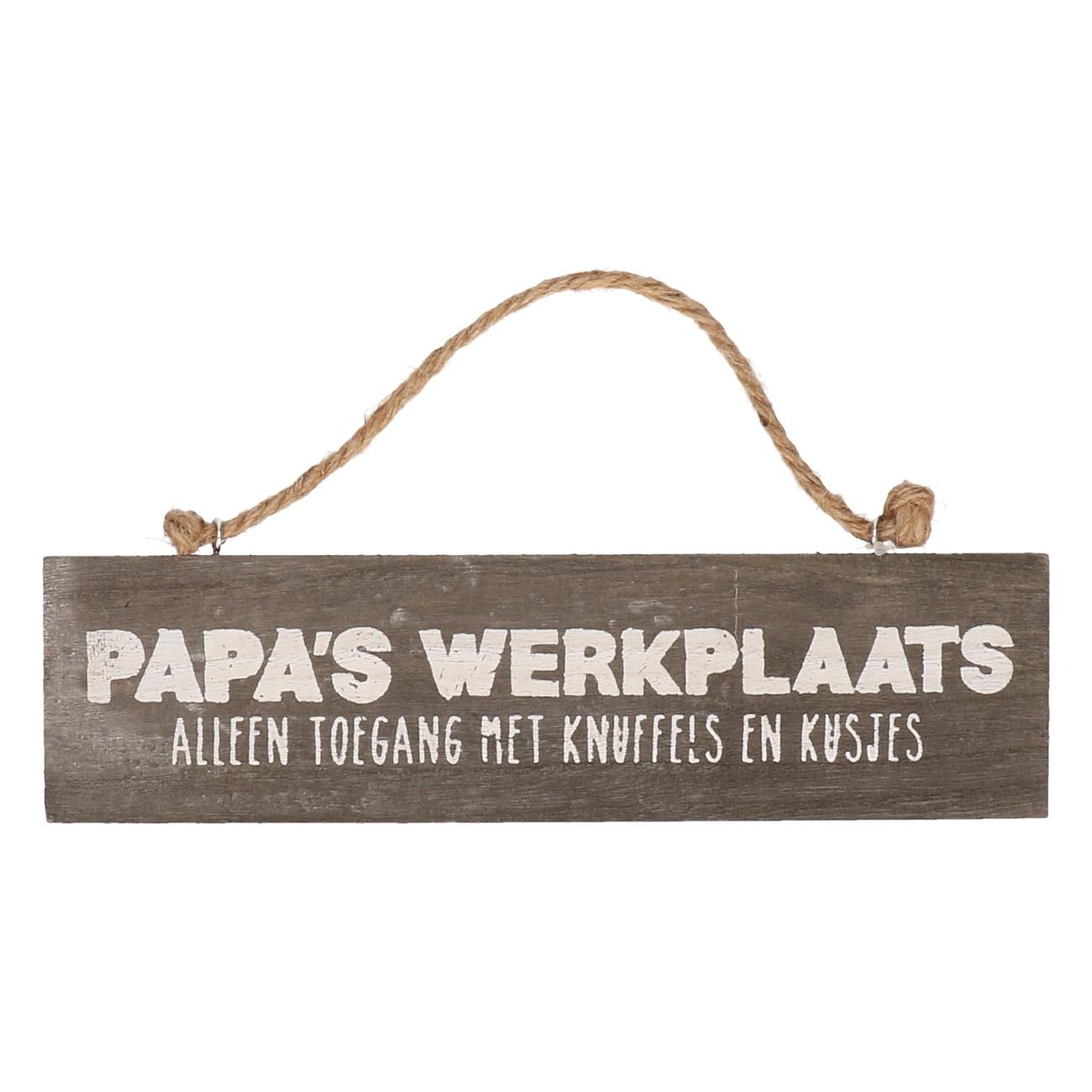 Houten bord Papa's werkplaats