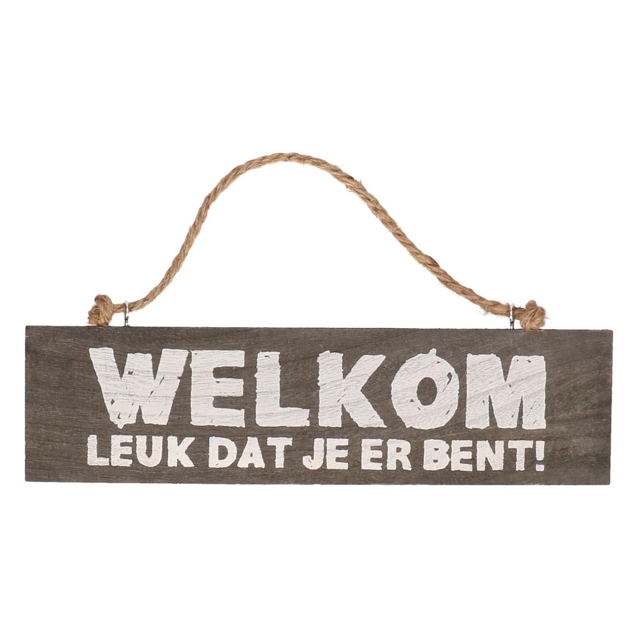Houten bord Welkom