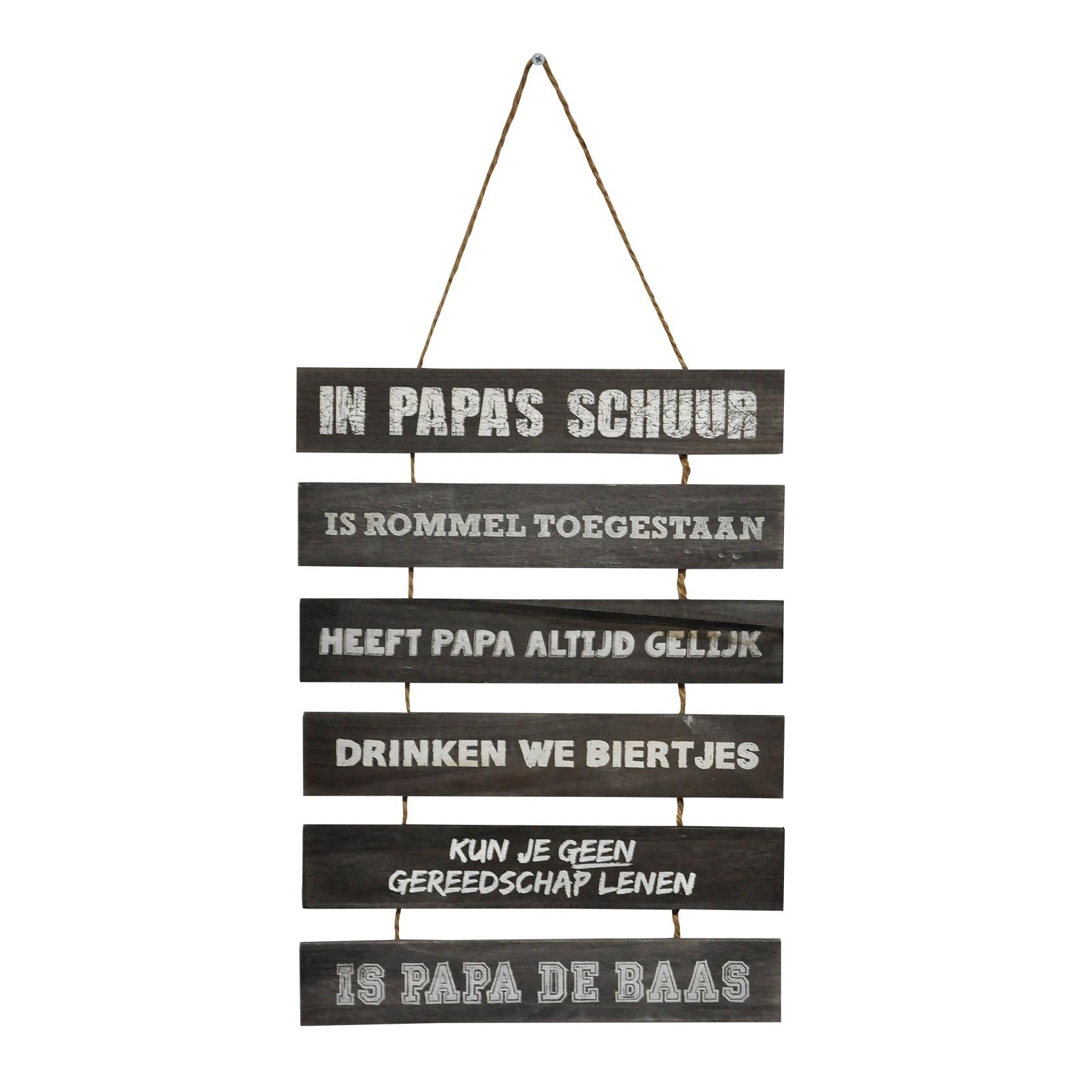 Houten bord in Papa's schuur