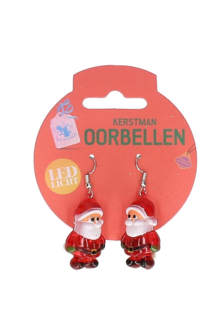 Kerstman oorbellen met led (#807)