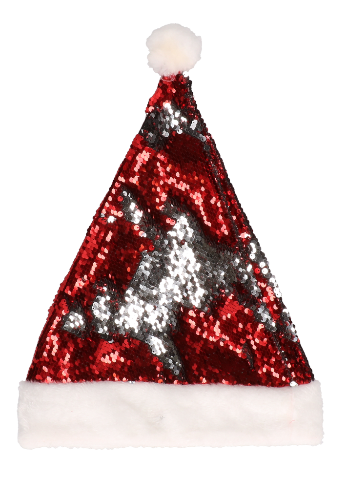 Kerstmuts sequin rood zilver