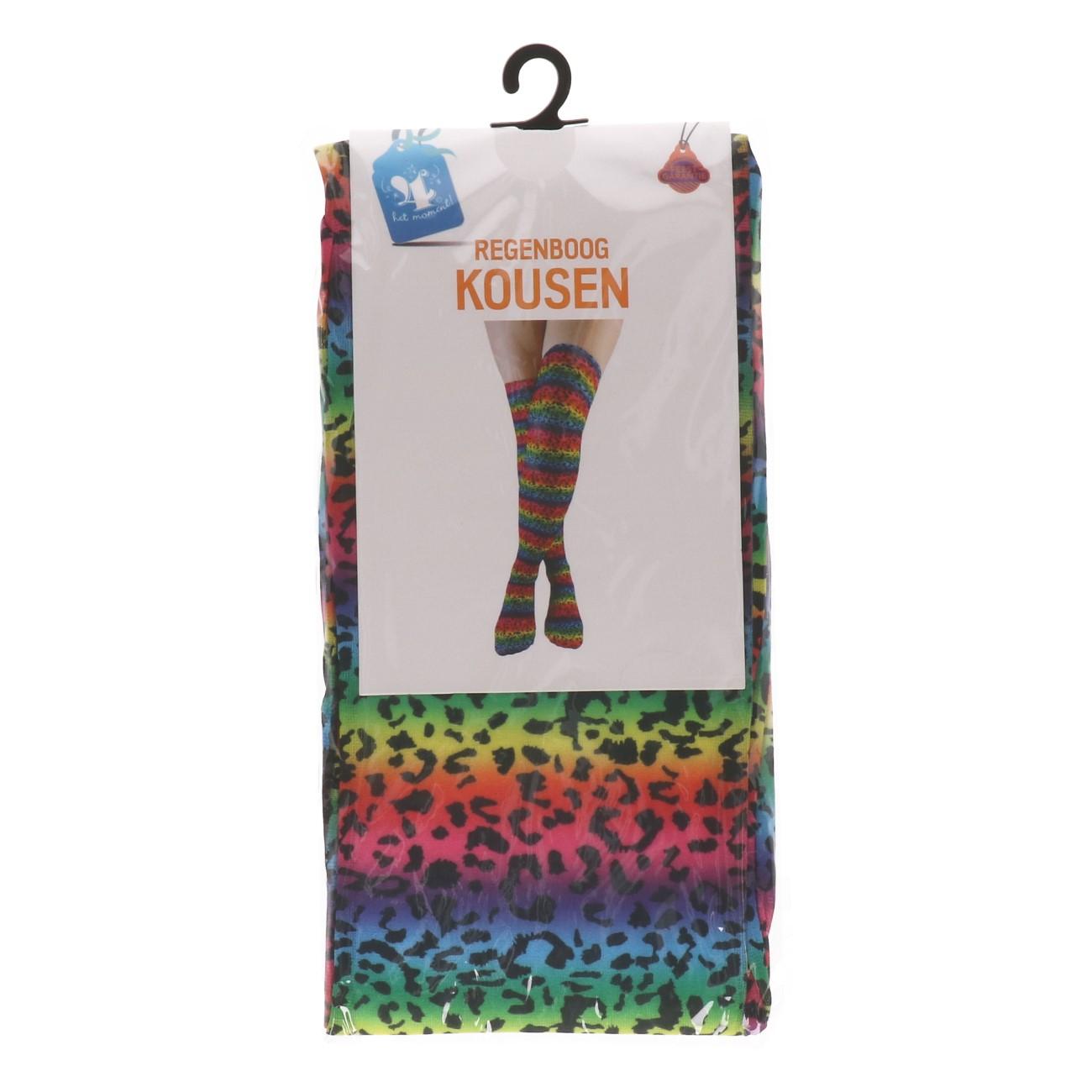 Kousen regenboog panterprint