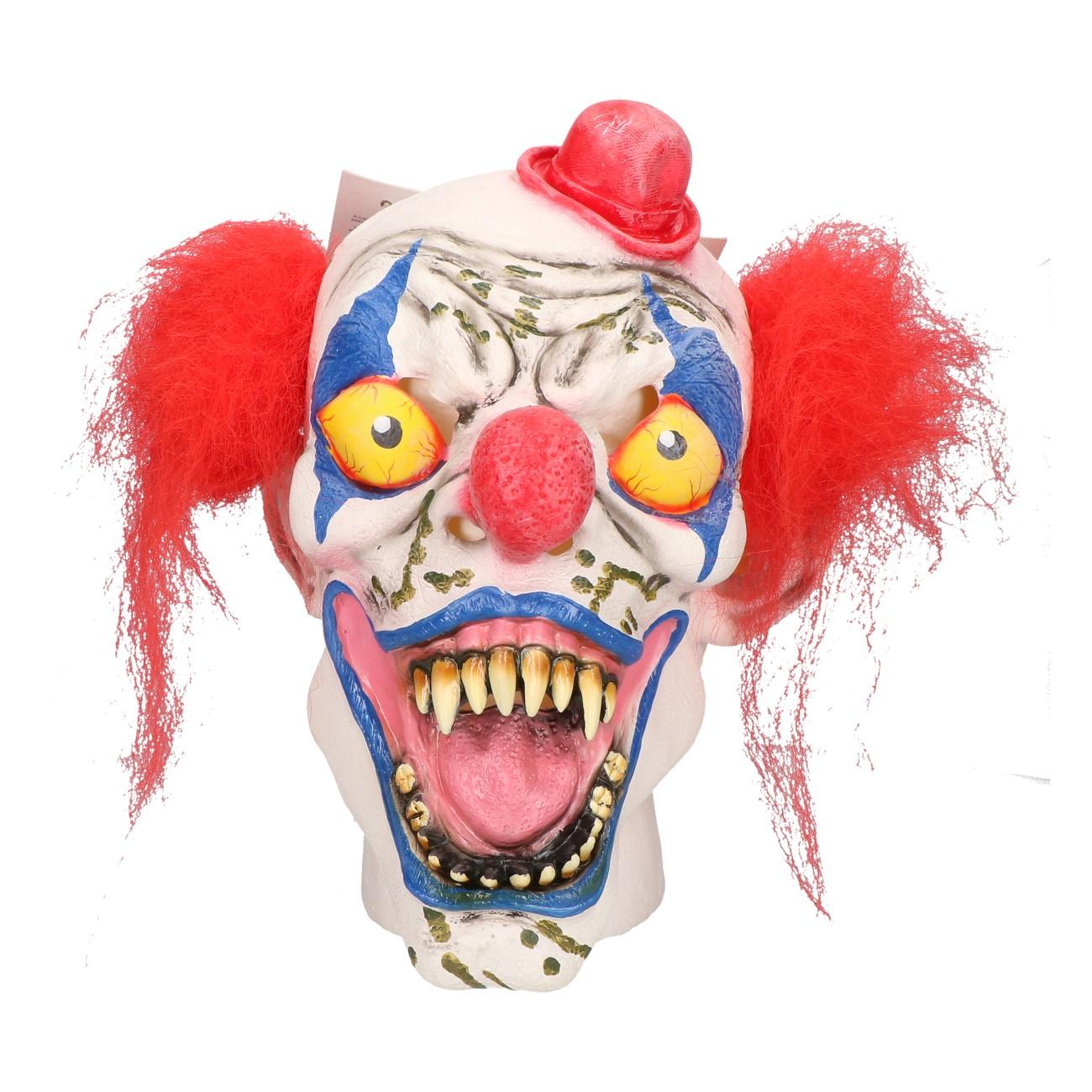 Masker horror clown met rood hoedje