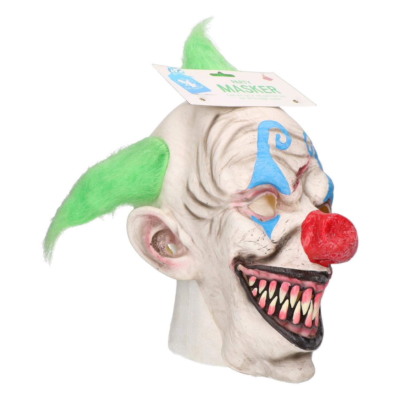 Masker horror clown groen haar