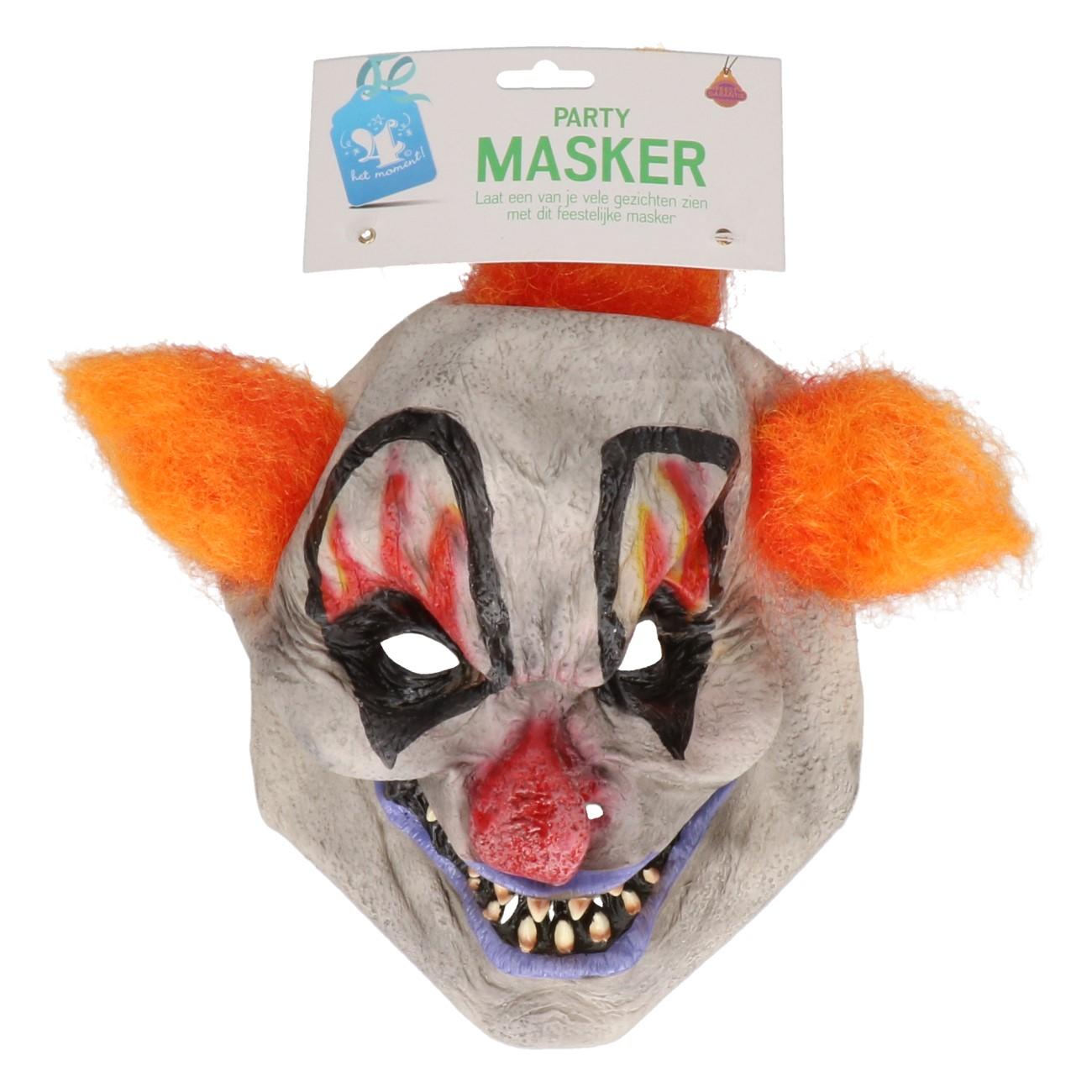 Masker horror clown oranje/rood haar