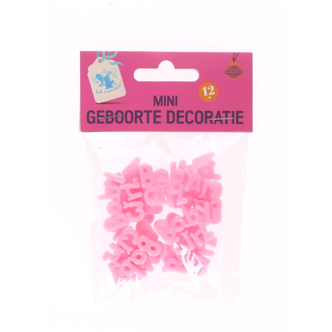 Mini geboorte decoratie roze #658