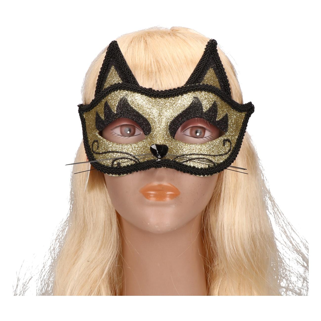 Oogmasker kat goud zwart