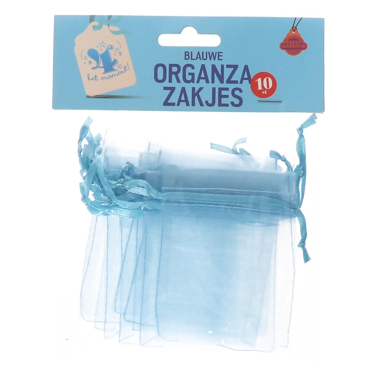 Organza zakjes blauw 10 stuks