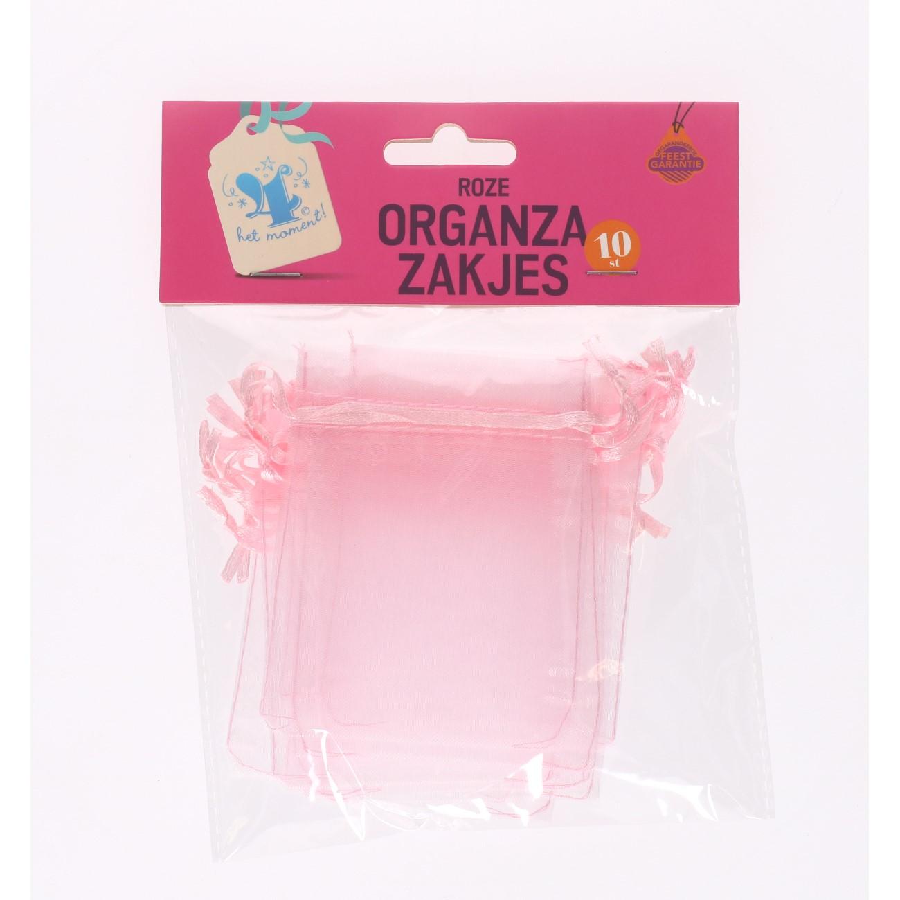Organza zakjes roze 10 stuks